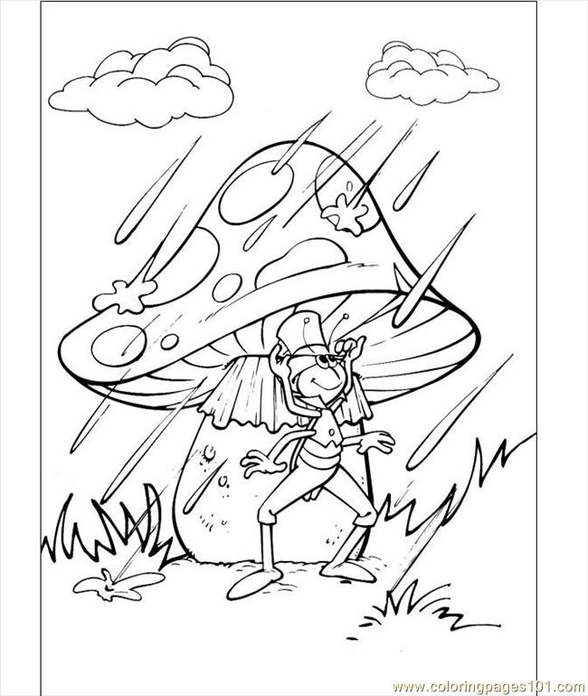 Flip Under The Mushroom In The Rain Coloring Page Coloring Page