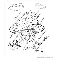 Flip Under The Mushroom In The Rain Coloring Page Free Coloring Page for Kids