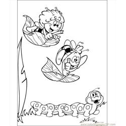 Willy And Maya With Her Friend Coloring Page Free Coloring Page for Kids