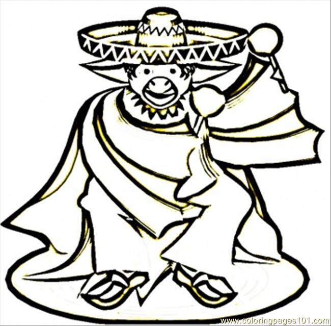 Mexican Man In Sombrero Coloring Page - Free Mexico Coloring Pages ...