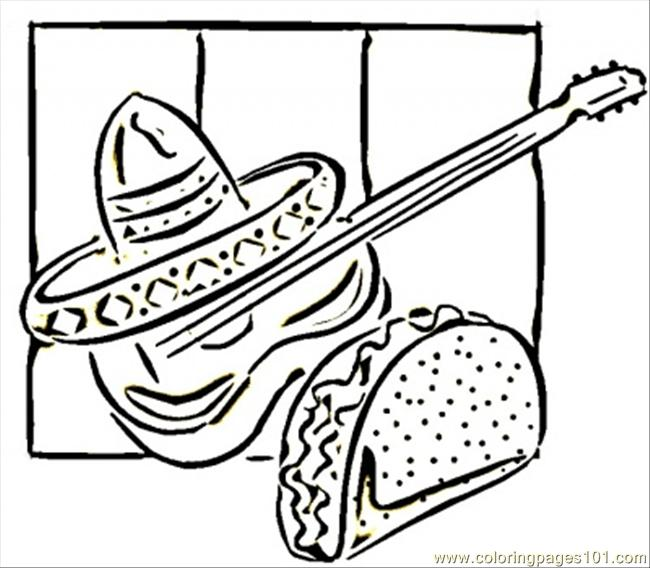 Tacos And Guitar Coloring Page Free Mexico Coloring Pages