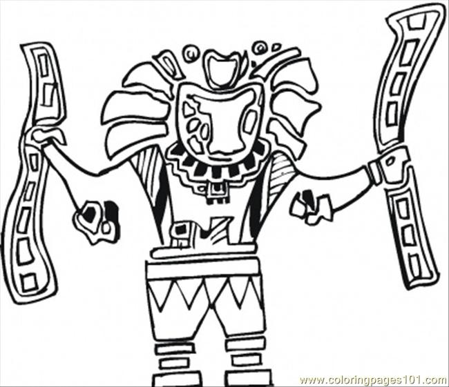 Aztec Coloring Pages Pdf : Aztec art coloring page free mexico pages