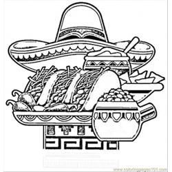 Mexican National Food Free Coloring Page for Kids