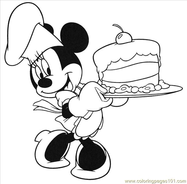 Mouse Birthday Cake  Coloring Page