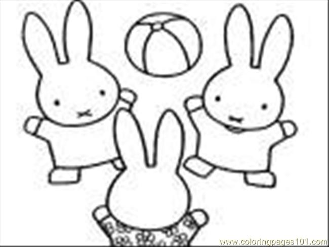 Nijntjemetbal Coloring Page - Free Miffy Coloring Pages ...
