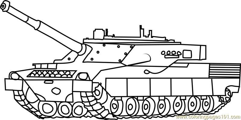 Army Tank in Battle Coloring Page