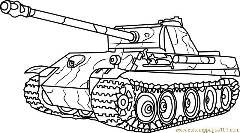 German Panther Army Tank Coloring Page - Free Tanks ...