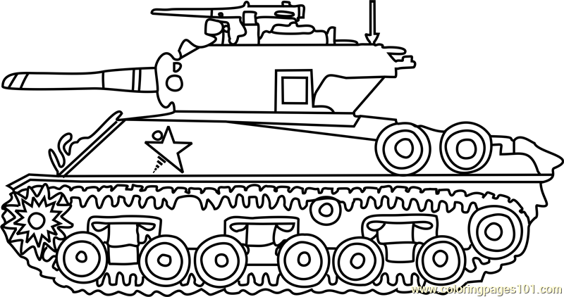 M4 sherman army tank coloring page