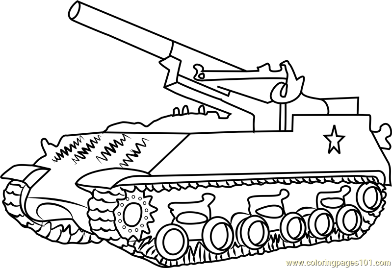 M43 Army Tank Coloring Page