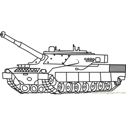 Army Tank in Battle Free Coloring Page for Kids