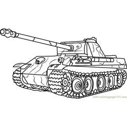 German Panther Army Tank Free Coloring Page for Kids