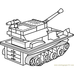 Lego Tank Free Coloring Page for Kids