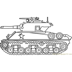 M4 Sherman Army Tank Free Coloring Page for Kids