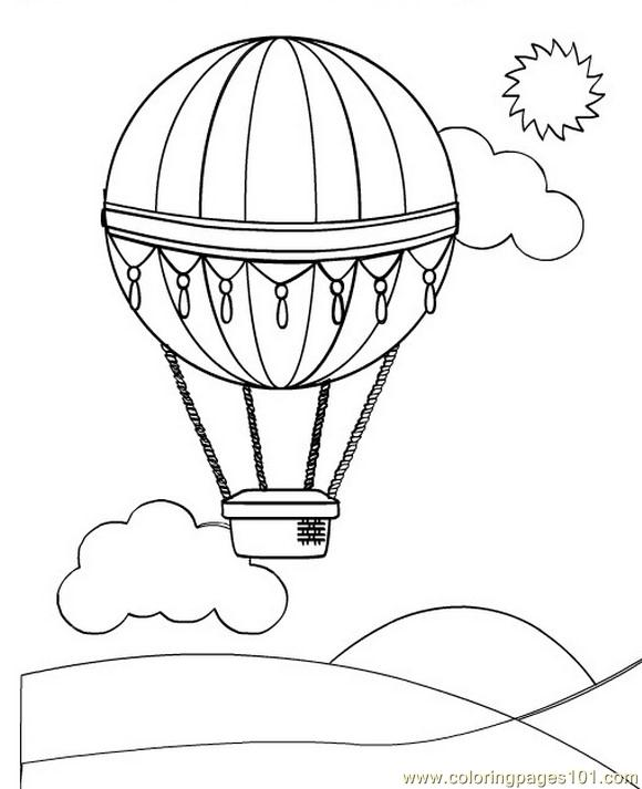 hot air balloon (2) coloring page - free miscellaneous coloring ... - Hot Air Balloon Pictures Color