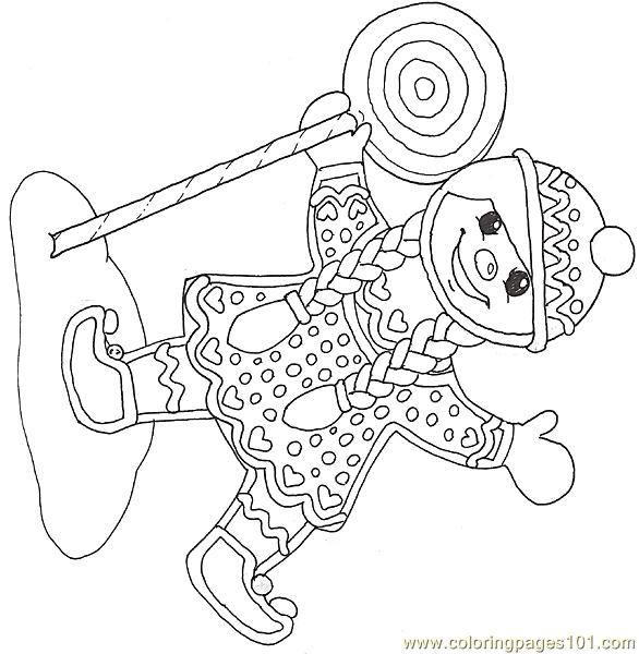 Gf Mural Gingerbread Girl With Lollipop Reverse Coloring Page