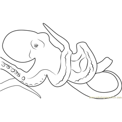 Sad Octopus Free Coloring Page for Kids