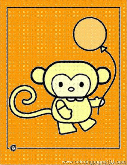 Cartoon Animal Monkey Coloring Page