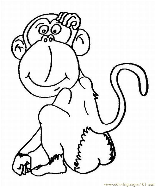 Cloring Pages Of Monkeys 2 Lrg Coloring Page