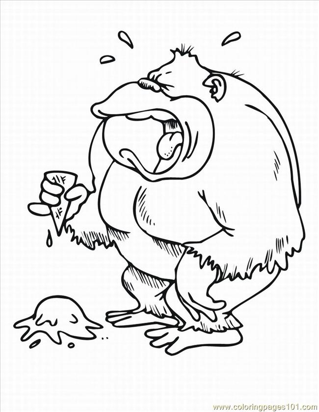 Monkey Coloring Pages 3 Lrg Page
