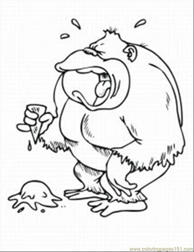 Monkey Coloring Pages 3 Med Coloring Page