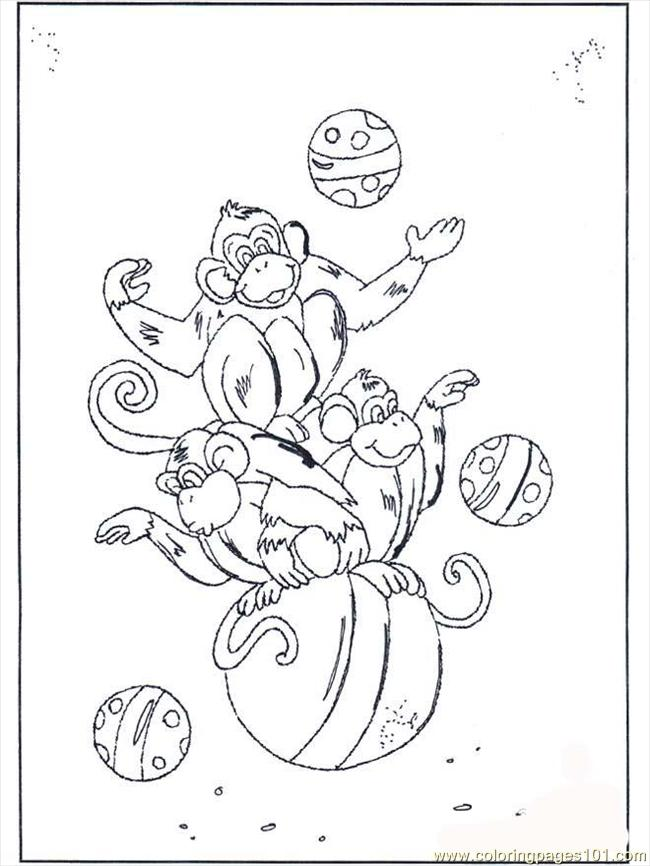 Monkey On Ball B2072 Coloring Page