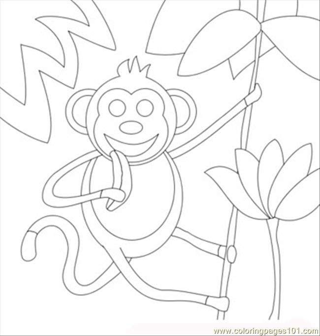 Monkey With Banana T Coloring Page