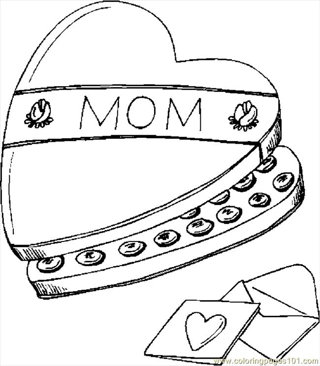 Chocolates For Mom Coloring Page
