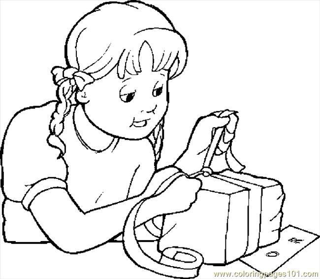 Wrapping Gift For Mom Coloring Page