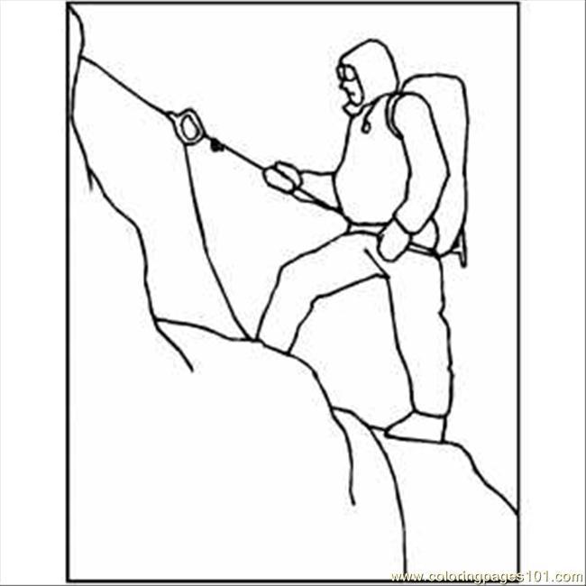 snow mountain climbing coloring page