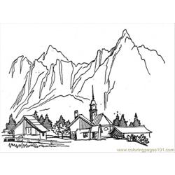Village In The Mountains Free Coloring Page for Kids