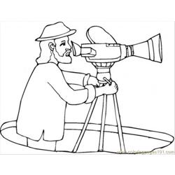 Director With Video Camera Free Coloring Page for Kids