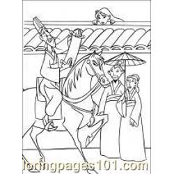 Mulan With Hand Fan Coloring Page Free Mulan Coloring Pages