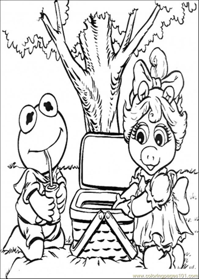 Elmo And Friend Go Picnic Coloring Page - Free Muppet Babies ...