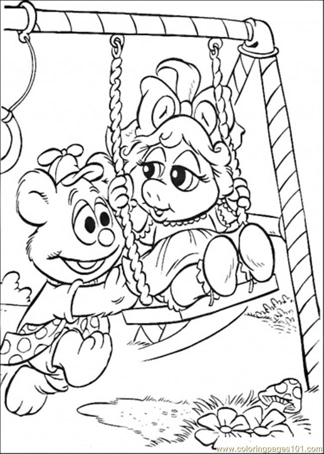 The Baby Swings Coloring Page - Free Muppet Babies ...