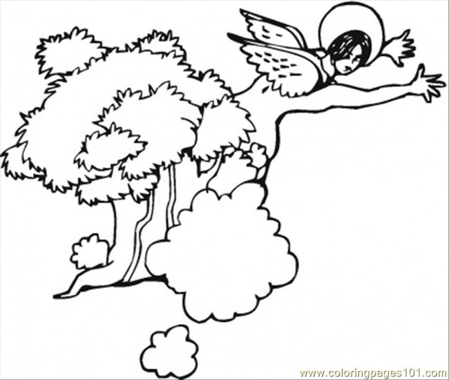 Angel Is Flying Over The Trees Coloring Page