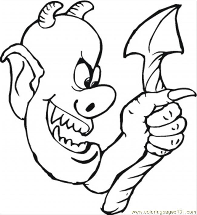 Demon And His Ugly Tail Coloring Page