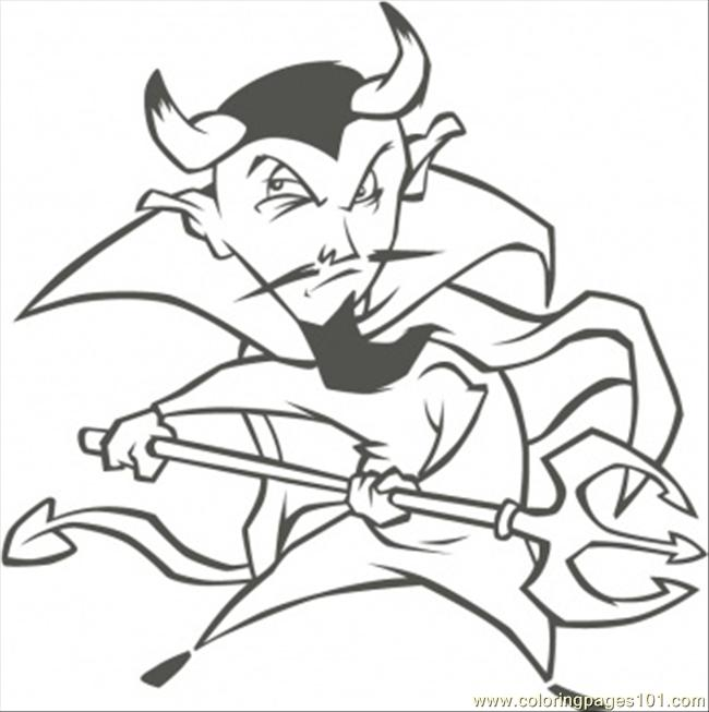 Demon With Spear Coloring Page