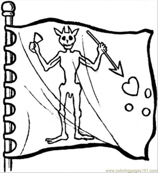 Flag With Demon Coloring Page