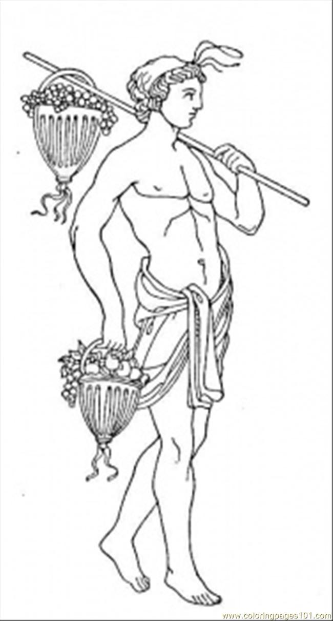 Roman With Fruits Coloring Page
