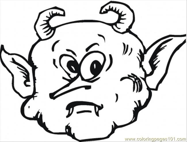 Scary Face Of A Demon Coloring Page