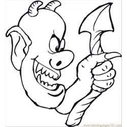 Demon And His Ugly Tail Free Coloring Page for Kids