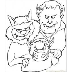Demons Family Free Coloring Page for Kids