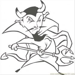 Demon With Spear Free Coloring Page for Kids
