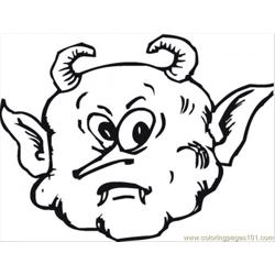 Scary Face Of A Demon Free Coloring Page for Kids