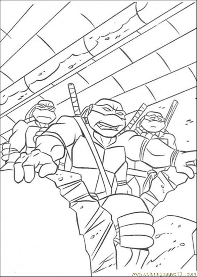 Three Tmnt In Action Coloring Page
