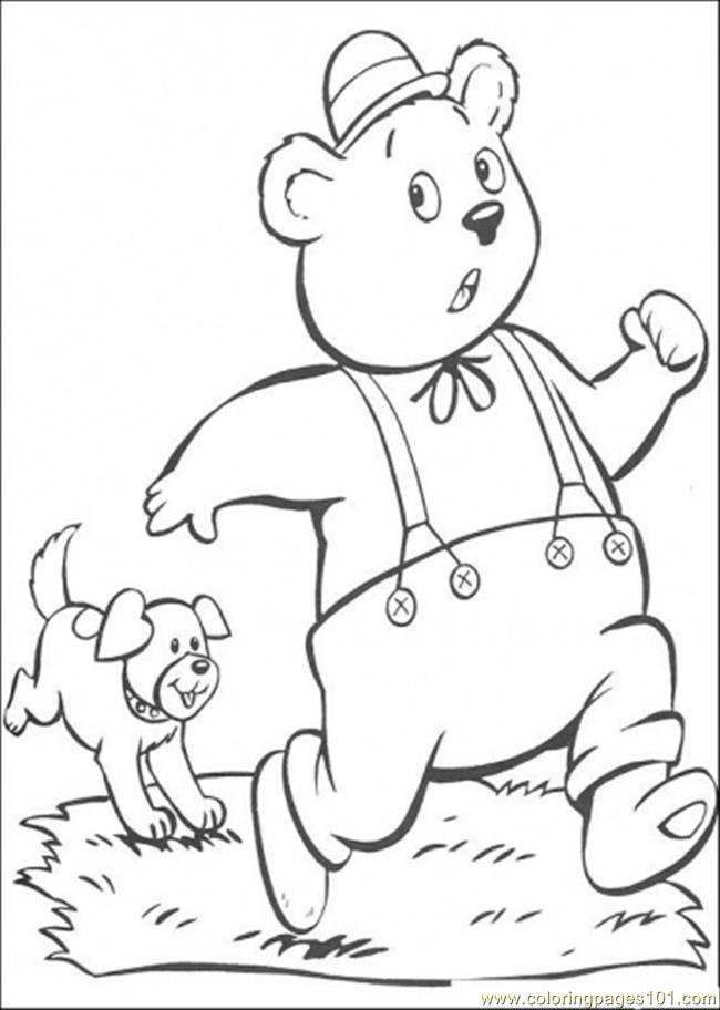 A Dog Chases Master Tubby Bear Coloring Page
