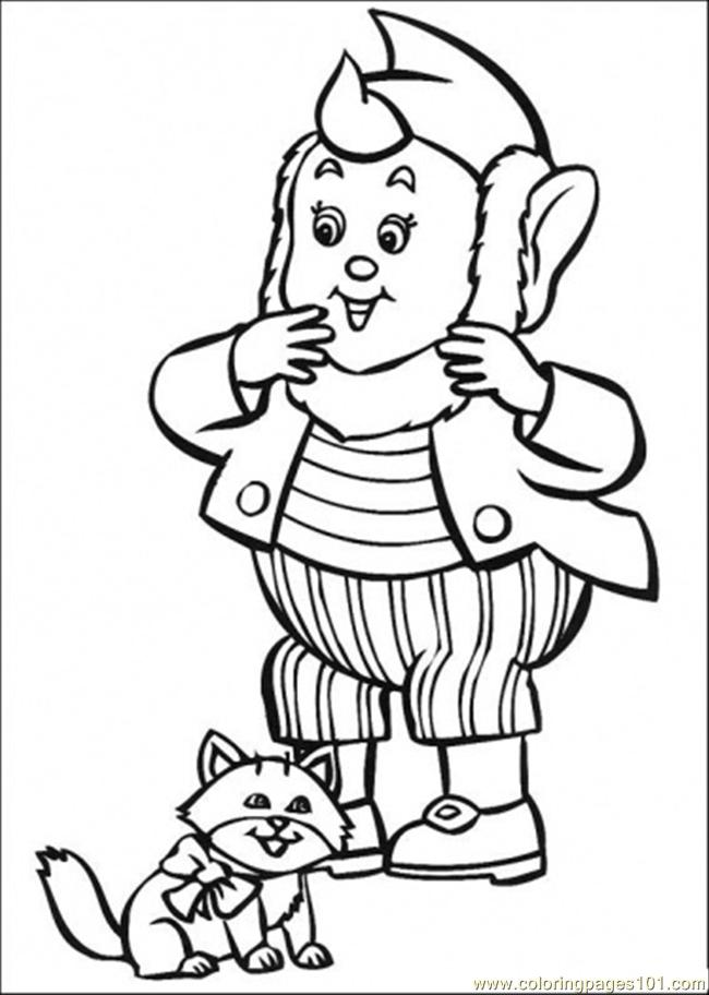 Big Ears And The Cat Coloring Page