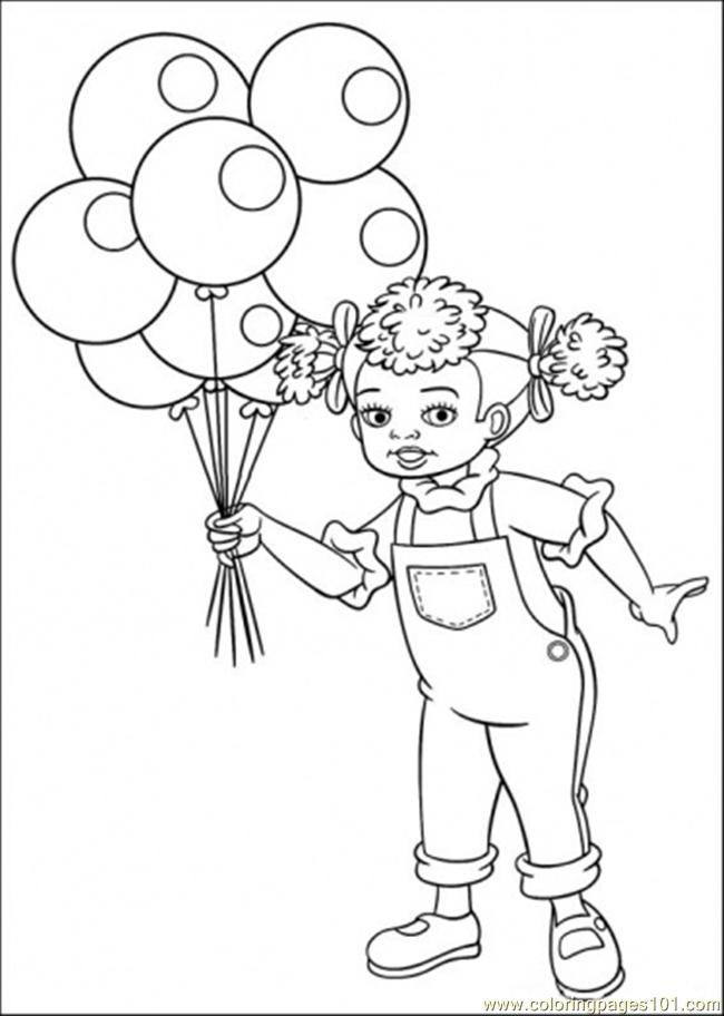 Dinal Doll Holds Baloons Coloring Page