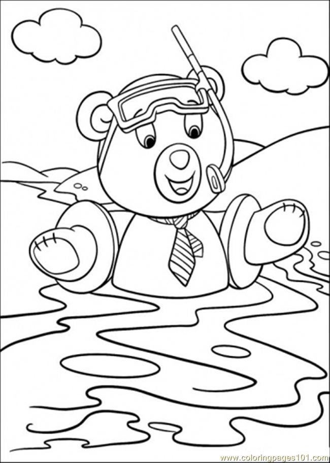 Master Tubby Bear Swims Coloring Page