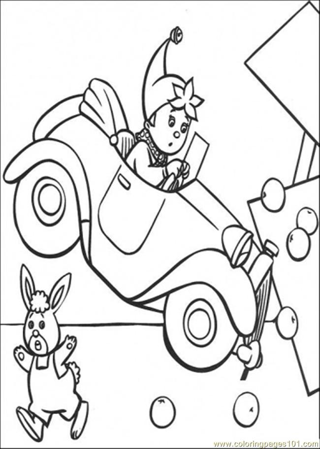 Noddy Crashes Something Coloring Page